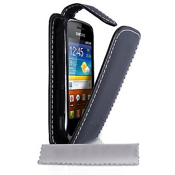 Yousave Accessories Samsung Galaxy Mini 2 Leather-Effect Flip Case - Black With White Lining