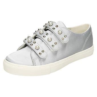 Damen-Fleck auf Perle Armband Schuhe F80359 - grau Satin - UK Größe 3 - a3bcecb9f3