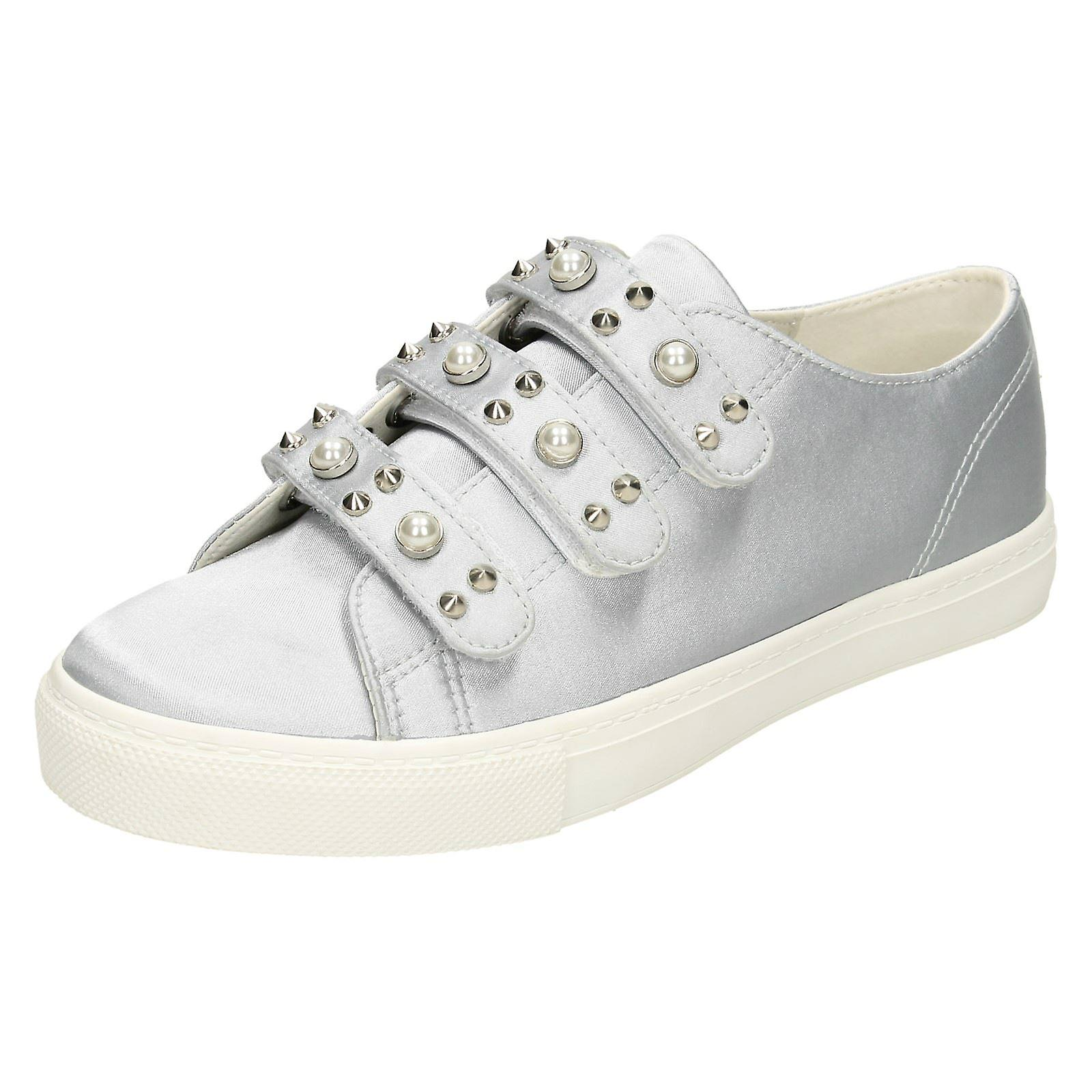Damen-Fleck auf Perle Armband Schuhe F80359 - grau Satin - UK Größe 3 - EU Größe 36 - Größe 5