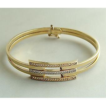 Golden Christian slave bracelet with cubic zirconia