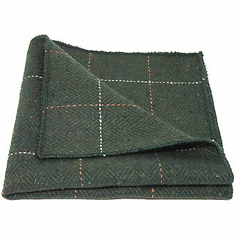 Luxe visgraat Forest Green Tweed zak plein, zakdoek
