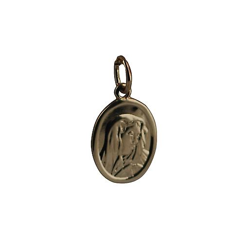 9ct Gold 14x11mm oval Our Lady of sorrows Madonna Pendant
