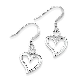 925 Sterling Silver Glossy Heart Dangle Earrings