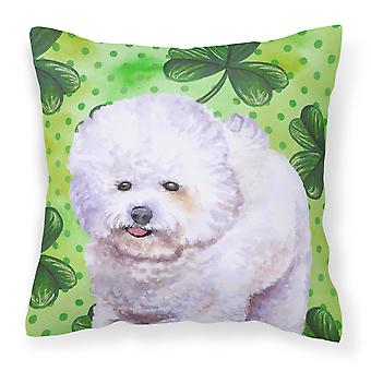Bichon Frise St Patrick's Fabric Decorative Pillow