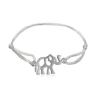 Armbånd i hvit silke og 925 sølv elefant