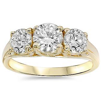 2ct ronde Diamond 3-Stone verlovingsring 14K Yellow Gold