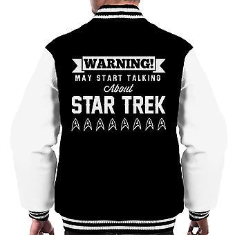 Warning May Start Talking About Star Trek Text Men's Varsity Jacket