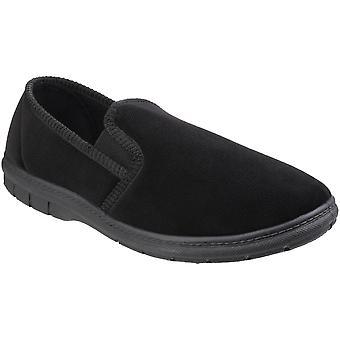 Fleet & Foster Mens John Twin Gusset Memory Foam Full Shoe Slippers