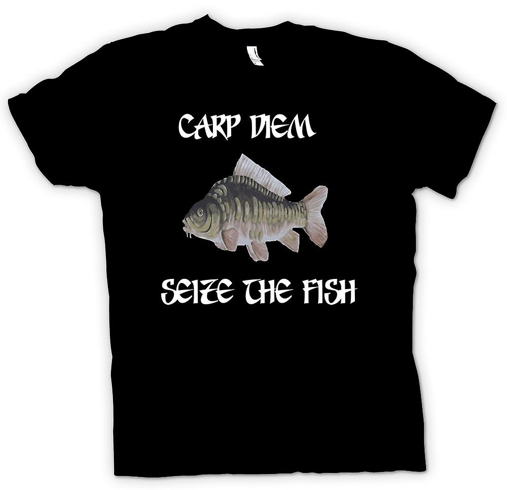 Womens T-shirt - Carp Diem - Seize The Fish - Funny