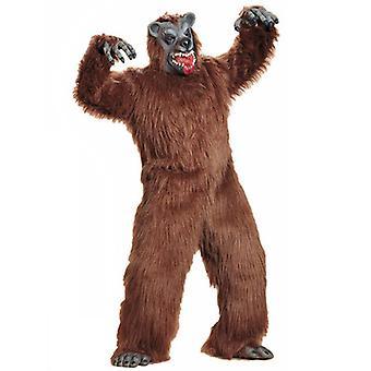 Brunbjørn Plys kostume (buksedragt hænder fødder maske)