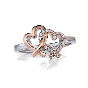 Orphelia sølv 925 Ring dobbelt hjerter og Rosegold forgyldt Zirconium ZR-7250