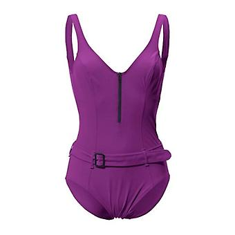 Belly way swimsuit with belt large bust size D Cup purple heine