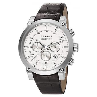 ESPRIT collection mens watch watch of Chrono Poros leather EL102121F04