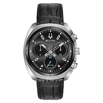 Bulova | Curv | Mens | Chronograph | Black Leather Strap | 98A155 Watch