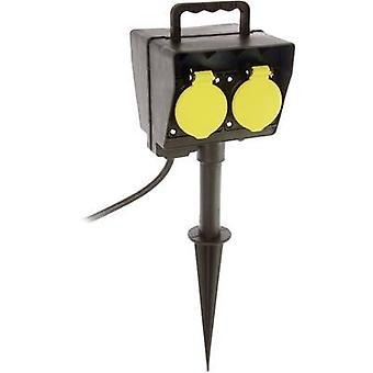 Als - Schwabe 60685 weerbestendige socket strip (+ timer) 2 x zwart