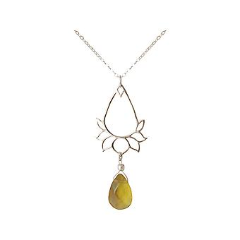 GEMSHINE ladies necklace 925 Silver with YOGA Lotus Flower and citrine drop. Gem of quality and color. Made in Madrid, Spain. In the elegant jewelry with gift box