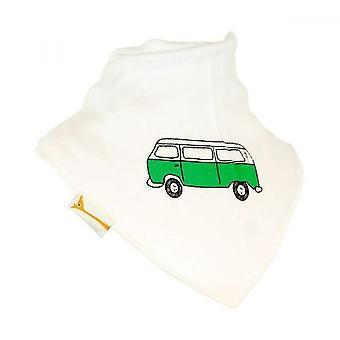 Babero bandana de camper retro blanco y verde