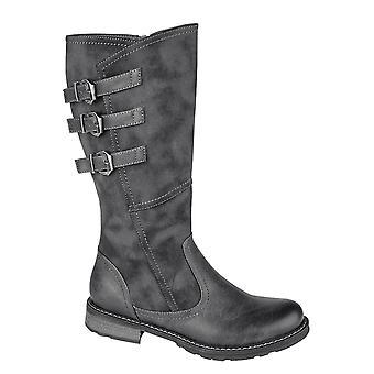 Ladies Womens Low Heel High Leg Adjustable Calf Zip Boots Shoes