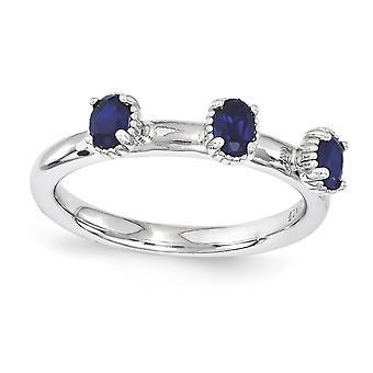 2,5 mm Sterlingsilber polierte Zinke Satz rhodinierten stapelbar Ausdrücke erstellt Sapphire drei Stein Ring - Ring S