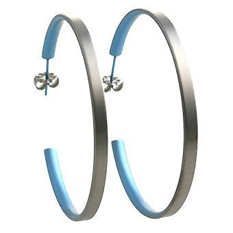 Ti2 Titanium grote Hoop Earrings - hemelsblauw