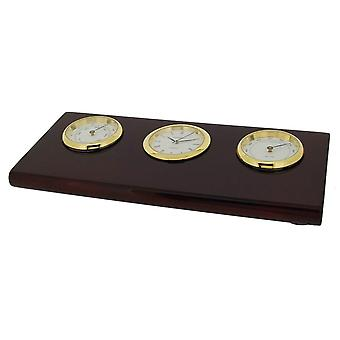 Gift Time Products Base with Thermo Hygrometer and Clock - Gold/Brown