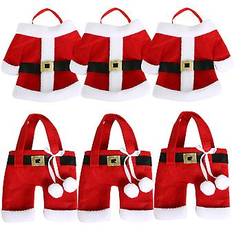 TRIXES Set of 6 Quirky Santa Suit Christmas Dinner Cutlery Holders