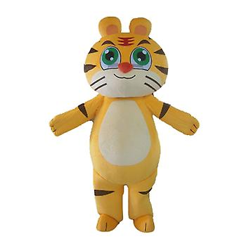 mascot SPOTSOUND Tiger, yellow, white and black, customizable chat on our site SPOTSOUND