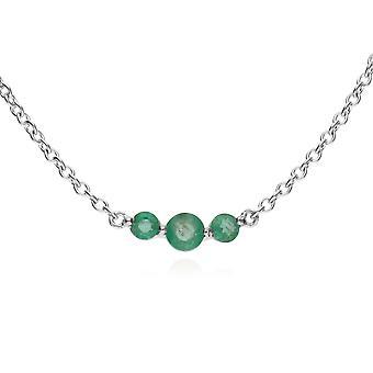 Gemondo Sterling zilveren drie steen Smaragd ronde verloop 45cm ketting