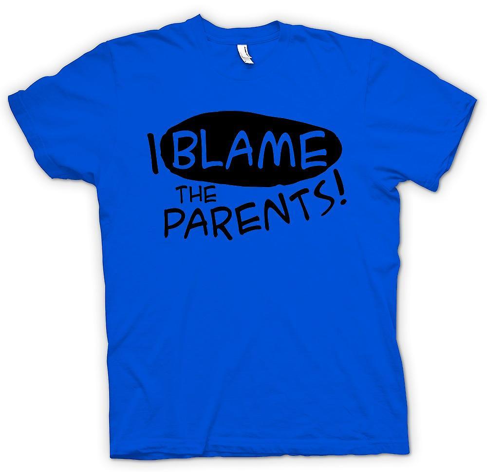 Mens t-skjorte - jeg skylde på foreldrene - morsom vits