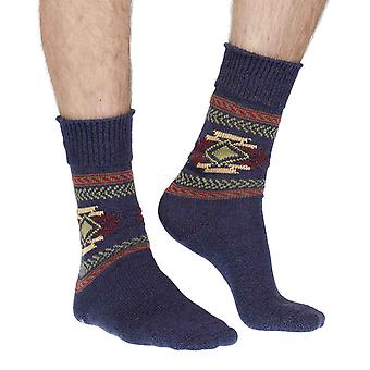 Aztec luxury 100% cotton boot socks in navy marl | By Corgi