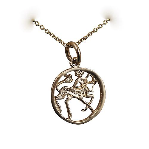 9ct Gold 11mm pierced Sagittarius Zodiac Pendant with a cable Chain 16 inches Only Suitable for Children