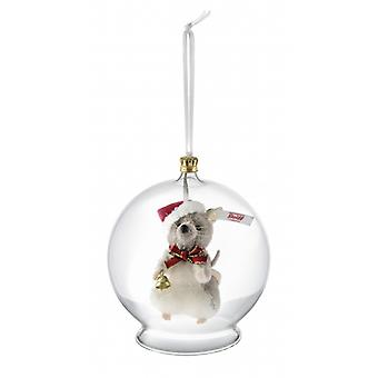 Steiff mouse in glass bulb ornament 8 cm