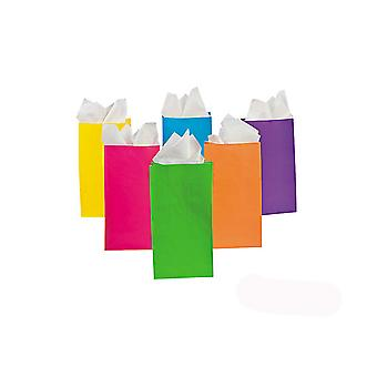 12 Neon Paper Party Bags | Kids Party Loot Bags