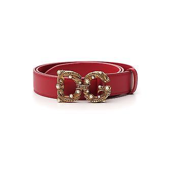 Dolce E Gabbana Red Leather Belt