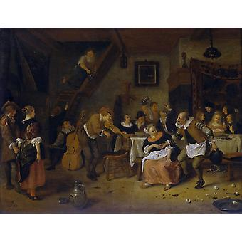 Peasant wedding,Jan Steen,38.5x50cm