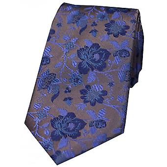 David Van Hagen Floral gemusterte Krawatte - grau/blau