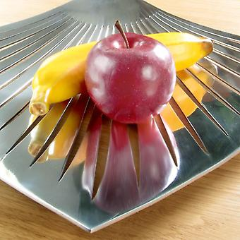 Metal Fruit Plate Appetizer Dish Modern Bright Silver Coloured Vase