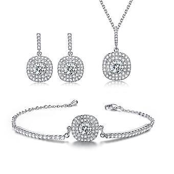Classic Jewellery Set Rhinestone Halo Necklace, Stud Earrings & Bracelet