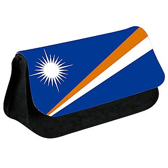 Marshall Islands Flag Printed Design Pencil Case for Stationary/Cosmetic - 0109 (Black) by i-Tronixs