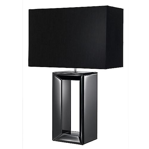 Searchlight 1610BK Modern Table Lamp Black Glass Base With Black Faux Silk Shade