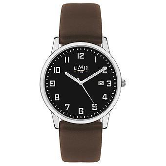 Limit | Mens Dark Brown Leather Strap | Black Dial | 5744.01 Watch