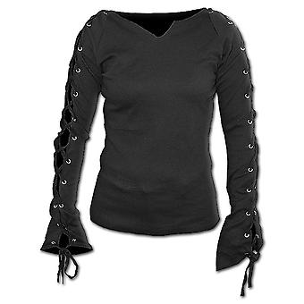 Spiral Direct Gothic GOTHIC ELEGANCE - Laceup Sleeve Top Black|Gothic