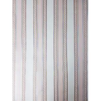 Holden Regency Stripe Pink Wallpaper Cream Silver Metallic Sparkle Textured