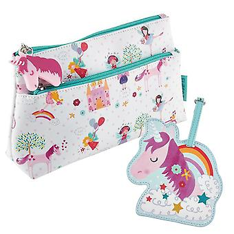 Childrens Unicorn washbag and luggage tag set