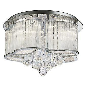 Mela Chrom und Crystal LED Flush Deckenleuchte - Searchlight 7985-48CC