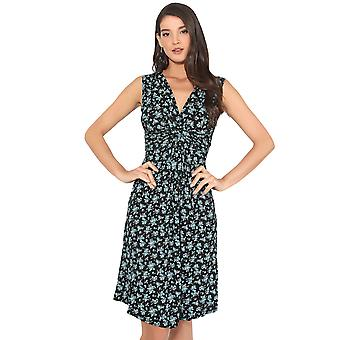 KRISP Small Floral Print Knot Front Dress