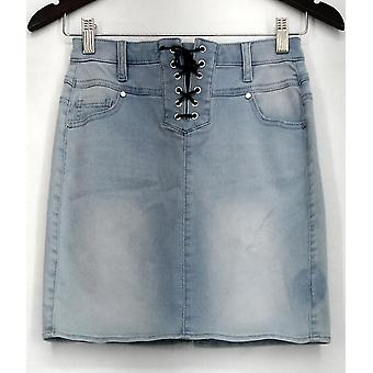 Material Gir Skirt Lace Up Front Five Pocket Blue Womens