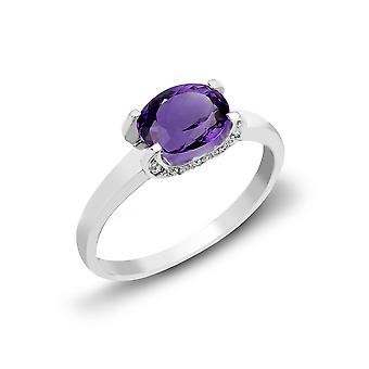 Jewelco London 18ct White Gold 4 Claw Set Round H SI 0.04ct Diamond and Oval Purple 1.15ct Amethyst Solitaire Ring 6mm