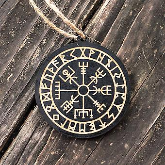 Ornament - vegvisir - black painted raw wood 3x3in