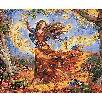 Gold Collection Fall Fairy geteld Cross Stitch Kit 14